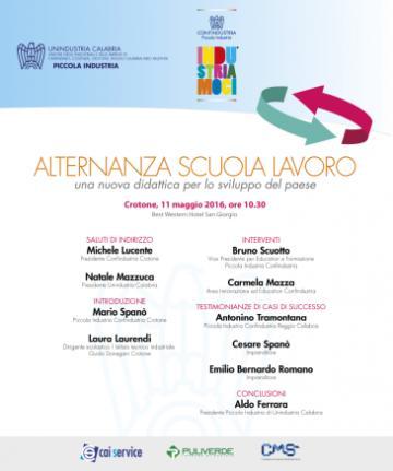 Piccola Industria di Confindustria a Crotone giorno 11 Maggio incontro su Alternanza Scuola Lavoro